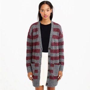 JCREW Oversized Gray Long Stripe Cardigan Sweater Gray Burgundy Wool Blend XL